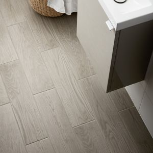Arrezo Grey Matt Wood effect Porcelain Floor tile Pack of 14 (L)600mm (W)150mm