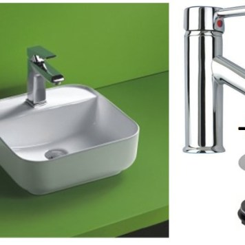 Square Countertop Bathroom Basin with Tap and Waste Bundle Ceramic 390mm Square Sink Ponsa