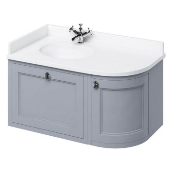 Burlington Wall Hung 100 Curved Corner Classic Grey Vanity Unit & Basin (Left Hand)- White Worktop