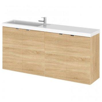Fuji 120cm Wall Hung Vanity Unit With Basin In Natural Oak
