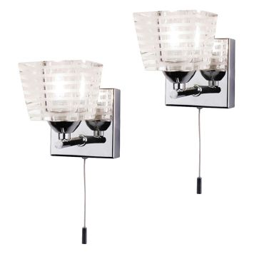 2 Pack of Pyxis K9 Glass Bathroom Wall Light - Chrome
