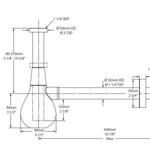 Victoria Albert Kit 122 Basin bottle trap – Polished chrome