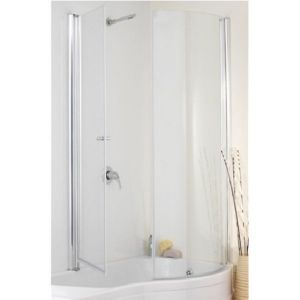 Eastbrook Revised Delta Type 2-1 Easy Clean 2-Fold Bath Screen – Right Handed – Silver