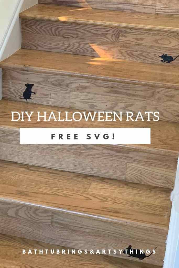 Decorate for Halloween quickly and easily with this Free Halloween Rat SVG. Add these mice to your stairs, door or anywhere that you would like to decorate!