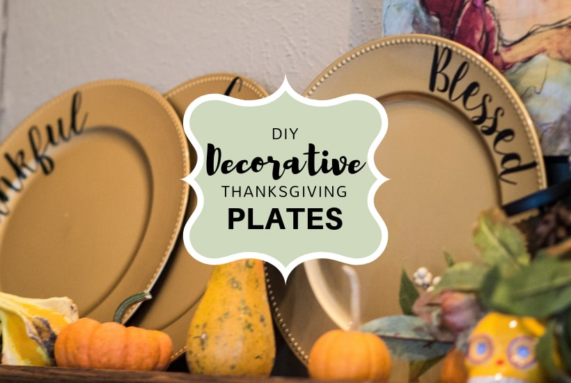 "This DIY Thanksgiving Plate Decorating idea is a must for any get together! Create your own set of ""Grateful Thankful Blessed"" plates now! #thanksgivingdecorating #thankfulgratefulblessedcraft"