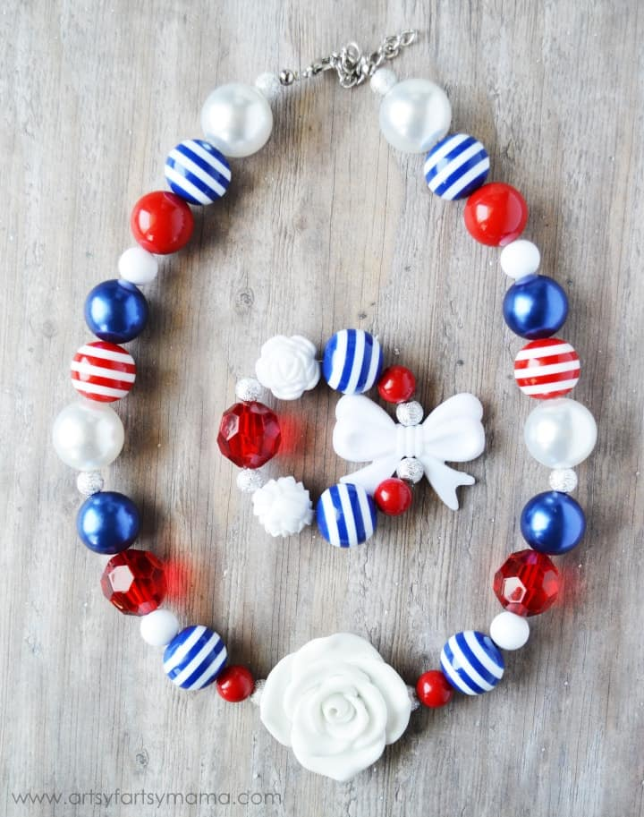Red white and blue beaded necklace for 4th of July outfit.