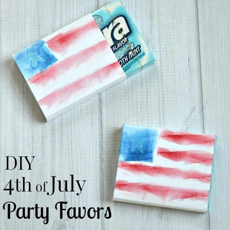 Gum wrapped in white cardstock and painted to look like an American flag.