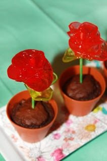 Chocolate muffins in plastic flower pots with red candy roses sicking out of them.