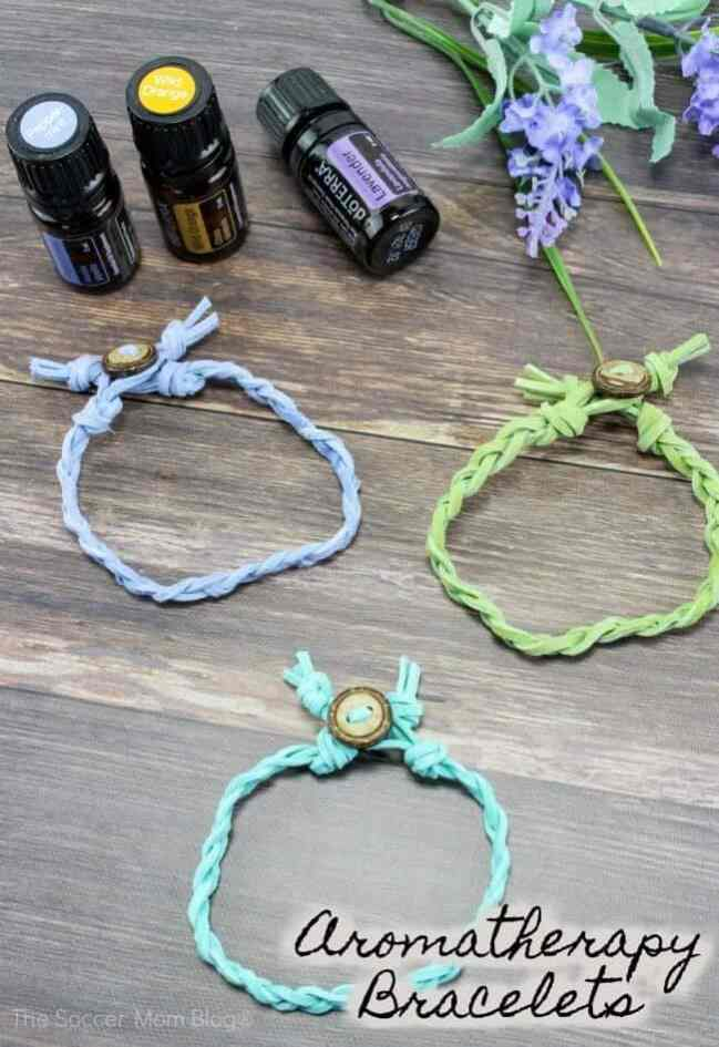 Three braided bracelets with essential oils