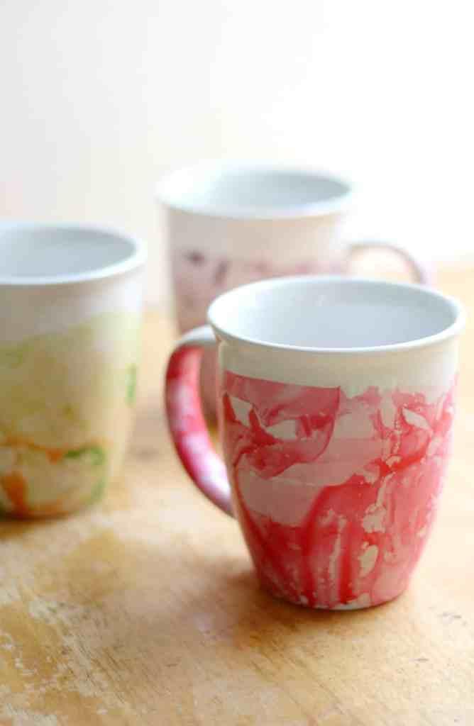 mugs marbled with nail polish