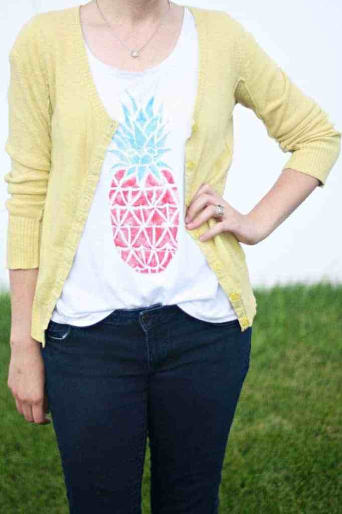a pineapple stamped tee shirt