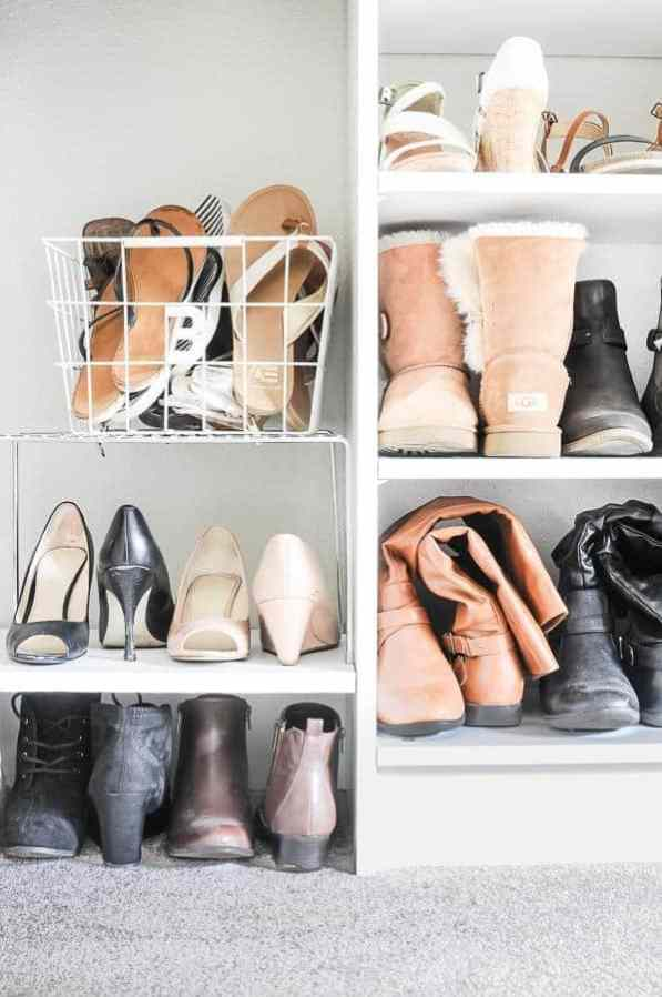 How to declutter a closet with shoe bins and shoe shelves