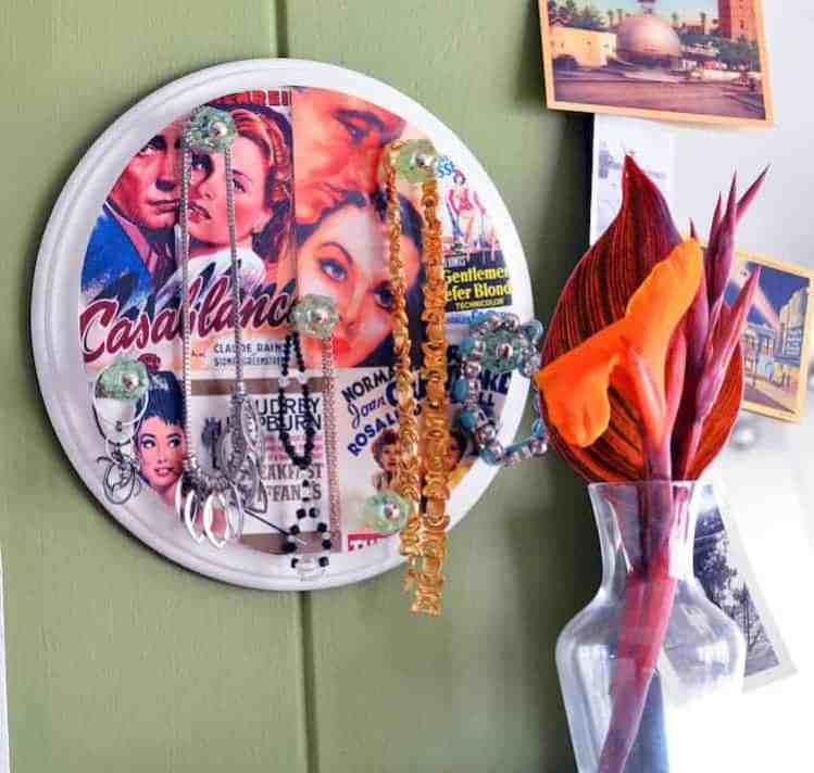 Make a jewelry holder from a collage wood plaque