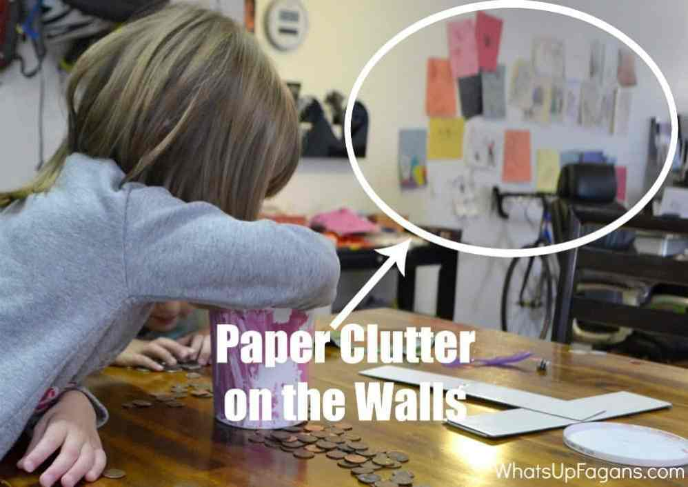 Reduce kids paper clutter on the walls