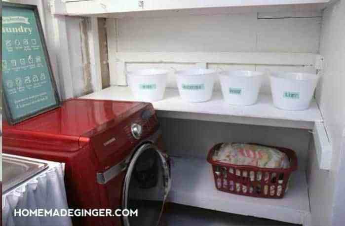 DIY Dollar store storage bins in a laundry room