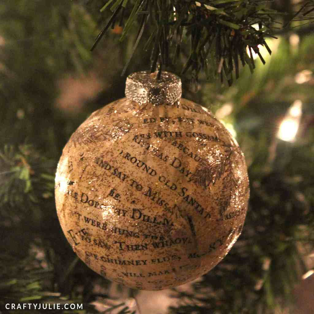 Vinatge text and gold glitter DIY ornament