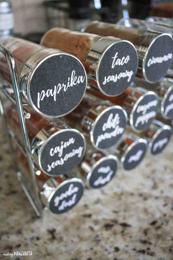 Organize your spices with printable labels