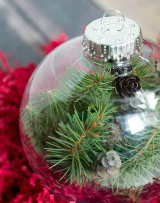 A clear ball filled with evergreen branches and pine-cones.  An easy ornament DIY.