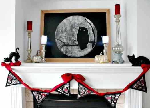 Halloween craft DIY Sppoky red black and white banner