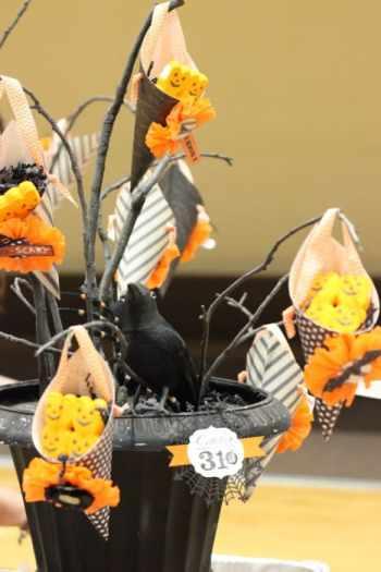 Halloween party black tree centerpiece.
