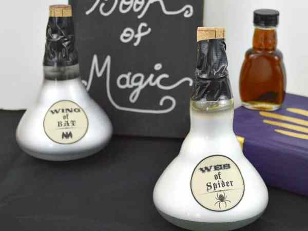 White light bulb potion bottles for Halloween craft ideas