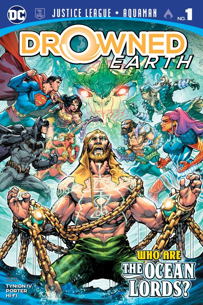 Capa de Justice League/Aquaman: Drowned Earth #1 por Howard Porter e Hi-Fi. Destaque do Amálgama da semana.