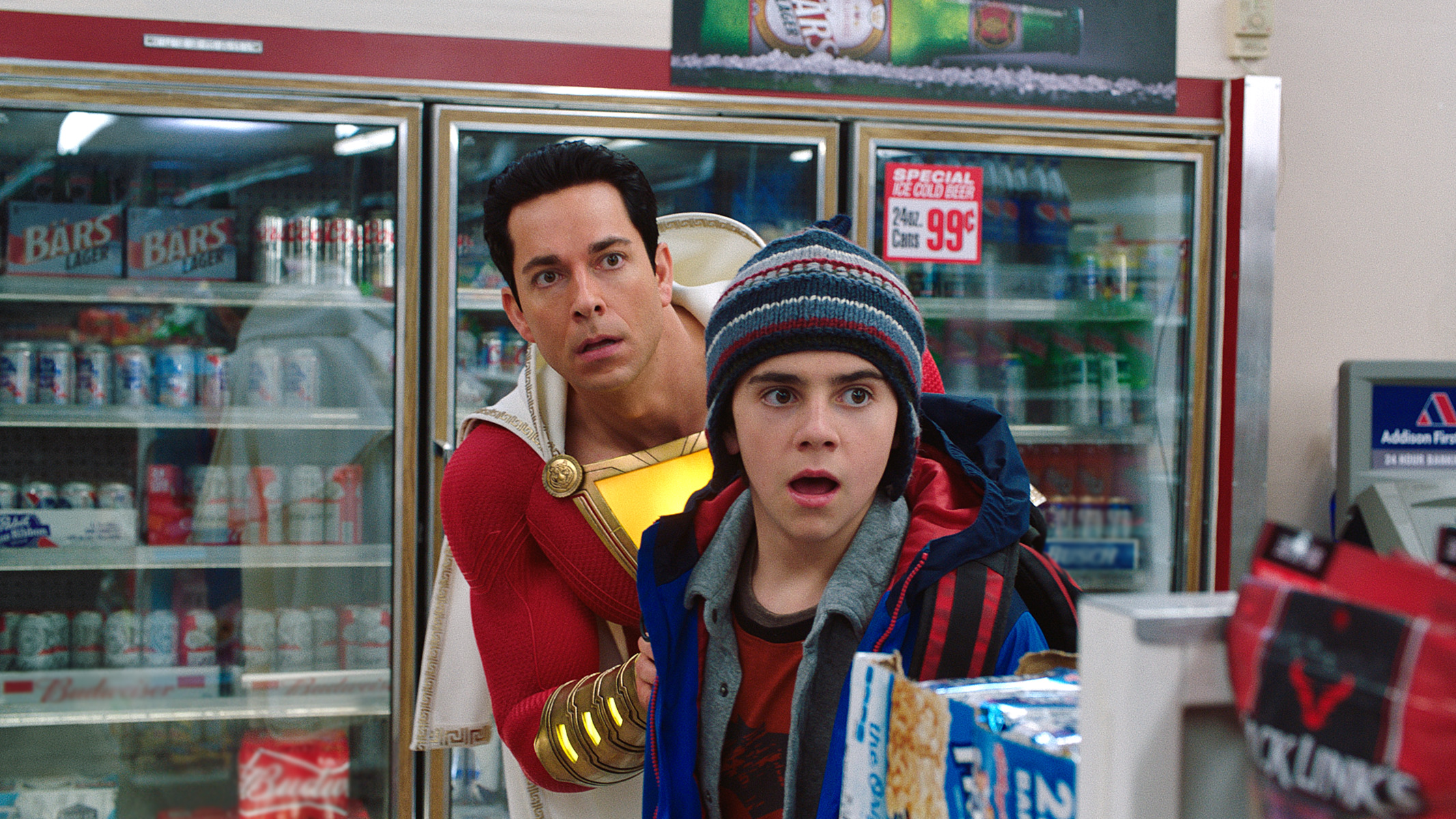 SHAZAM Review- Billy and Freddy hide from armed robbers
