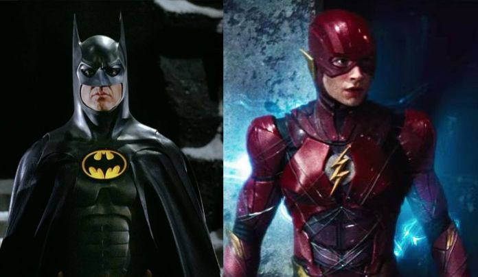 Michael Keaton as Batman and Ezra Miller as The Flash