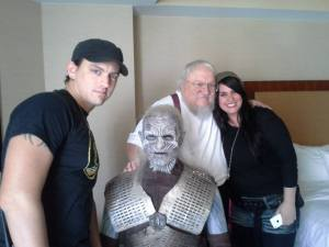 Wes and Diana Branton with George R R Martin, posing with the armour