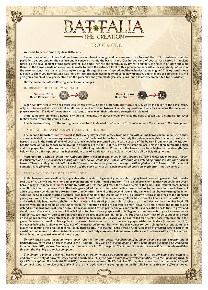 BATTALIA - Extra Rules - HEROIC MODE - EN - WEB v1.0