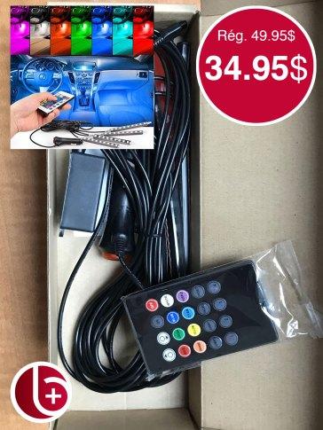 Kit de LED mutlicolor et multifonction pour illuminer l'interieur de votre auto. Télécommande incluse. 2 en stock