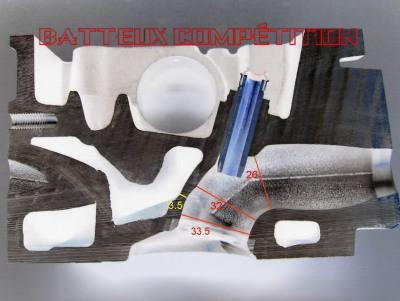 conduit d'admission de 205 Rallye radiographie d'un tronçon de culasse pour voir la partie à élargir