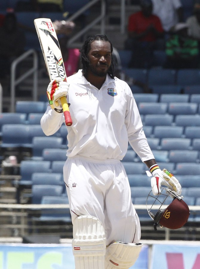 Gayle scored 64 runs in the first innings of his 100th Test