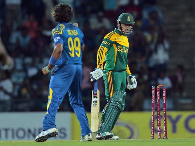 Malinga dismissed de Kock, Kallis, Amla and Morkel