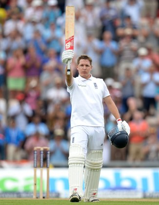 Ballance celebrates after bringing up his third Test century