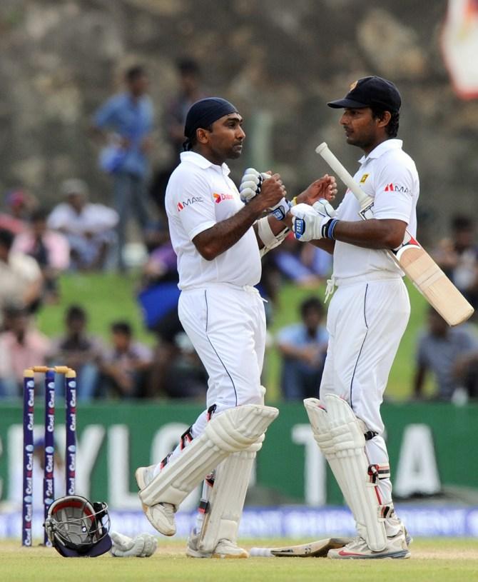 Sangakkara and Jayawardene amassed an unbeaten 108-run partnership before the rain came