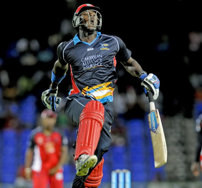 Brathwaite leaps in the air after hitting the winning runs