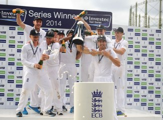 England celebrate after winning the Test series 3-1