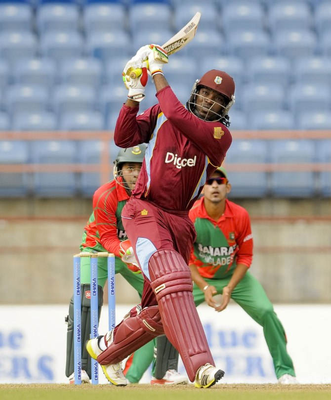 Gayle smashed five sixes during his knock of 58