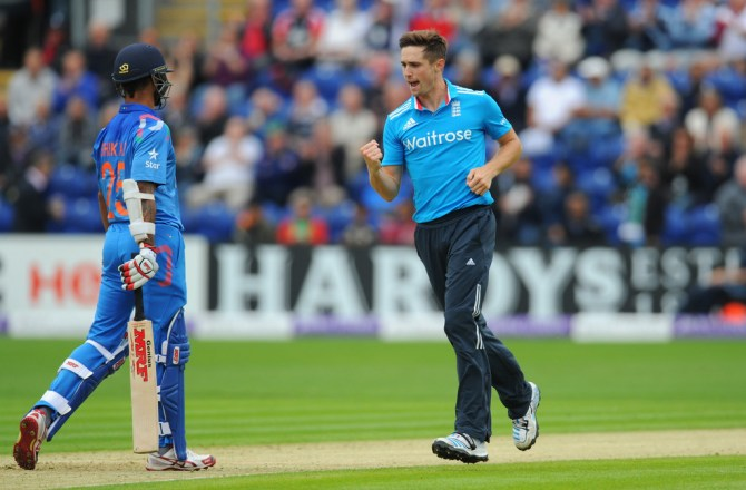 Woakes dismissed Dhawan, Kohli, Raina and Dhoni