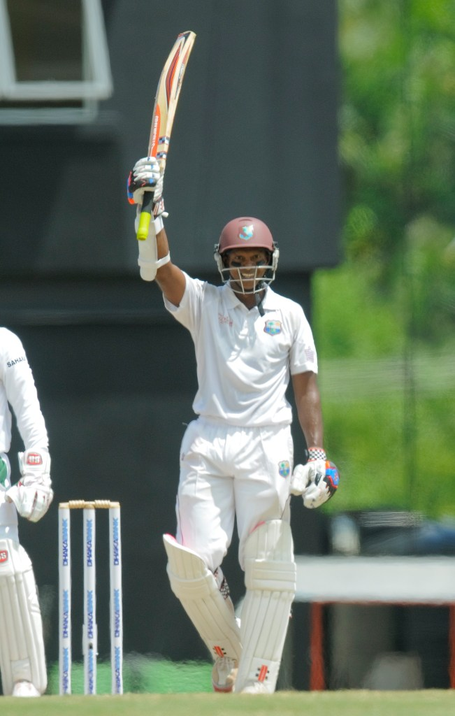 Chanderpaul is all smiles after bringing up his 30th Test century