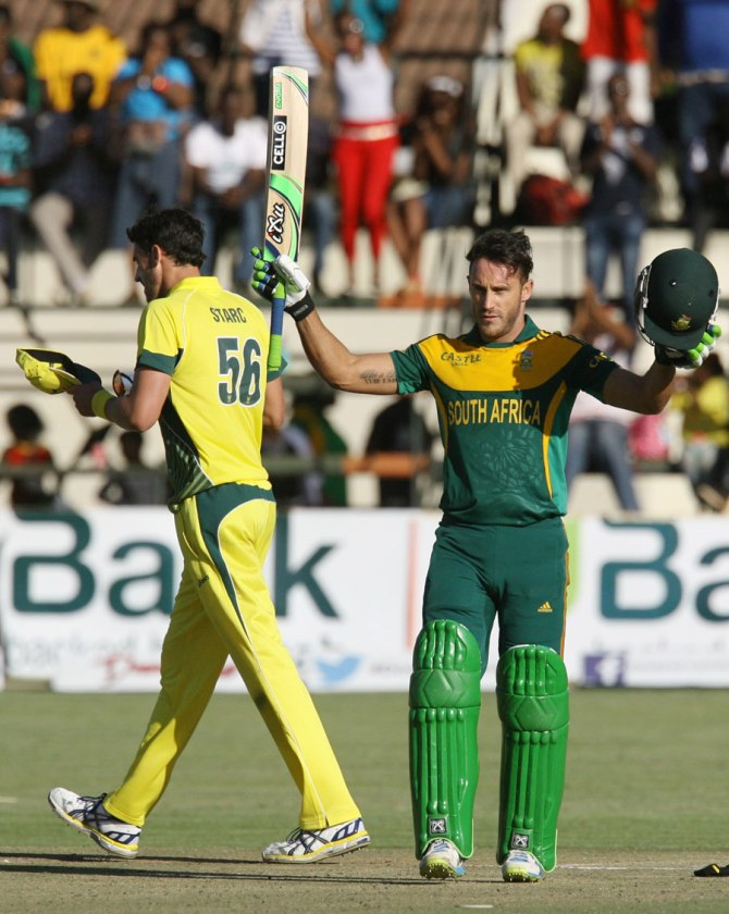 Du Plessis' second ODI century went in vain as his side were beaten by 62 runs