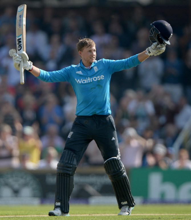 Root celebrates after bringing up his second ODI century