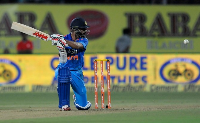 Dhawan hit nine boundaries during his gutsy innings of 68
