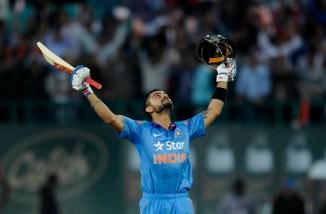 Kohli celebrates after bringing up his 20th ODI century