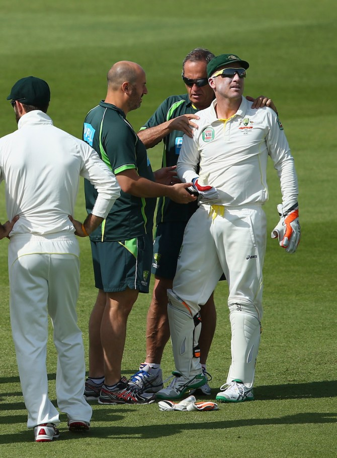 Haddin injured his shoulder in the sixth over of the day