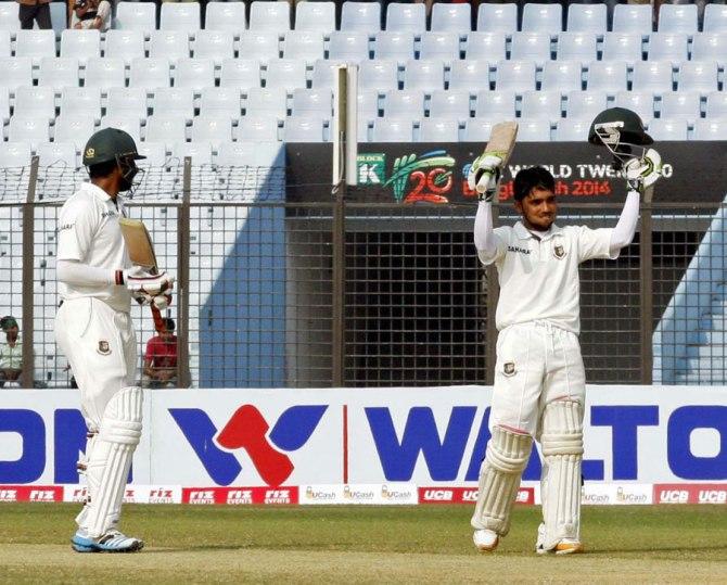 Haque celebrates after scoring his fourth Test century