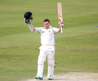 Latham celebrates after scoring his second Test century