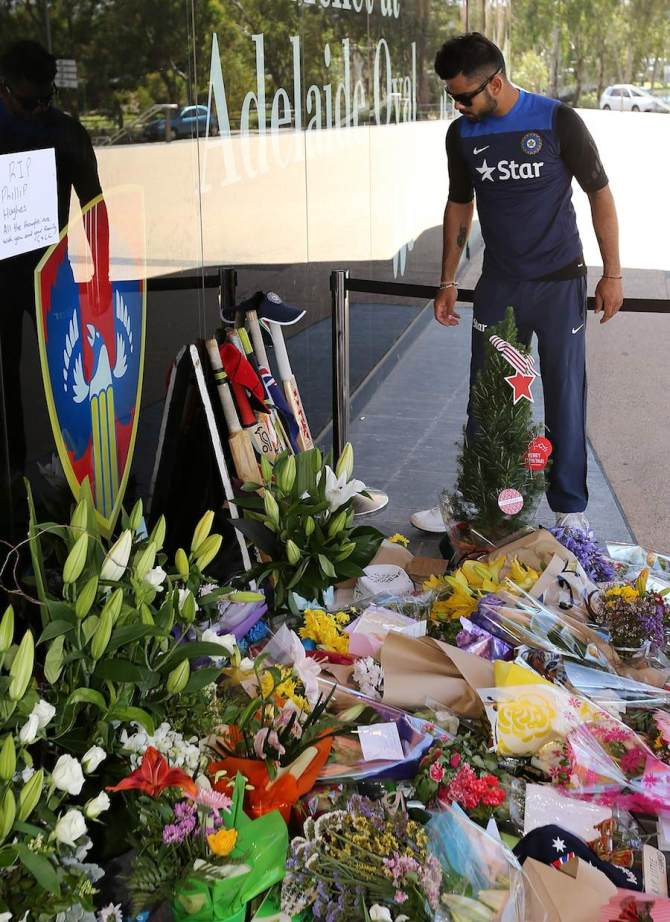 Kohli will be present at Hughes' funeral on Wednesday