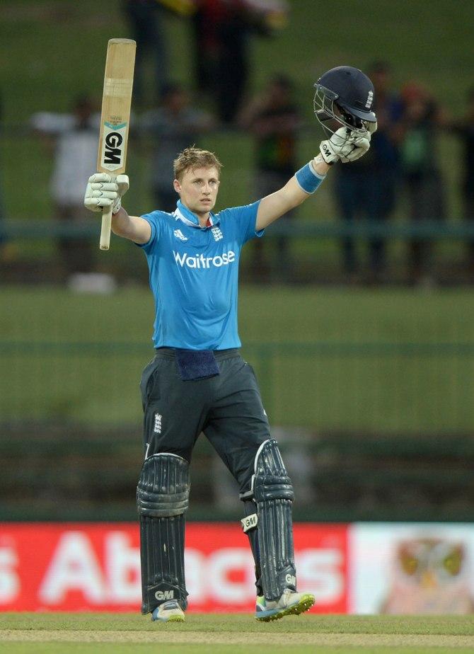 Root celebrates after scoring his third ODI century
